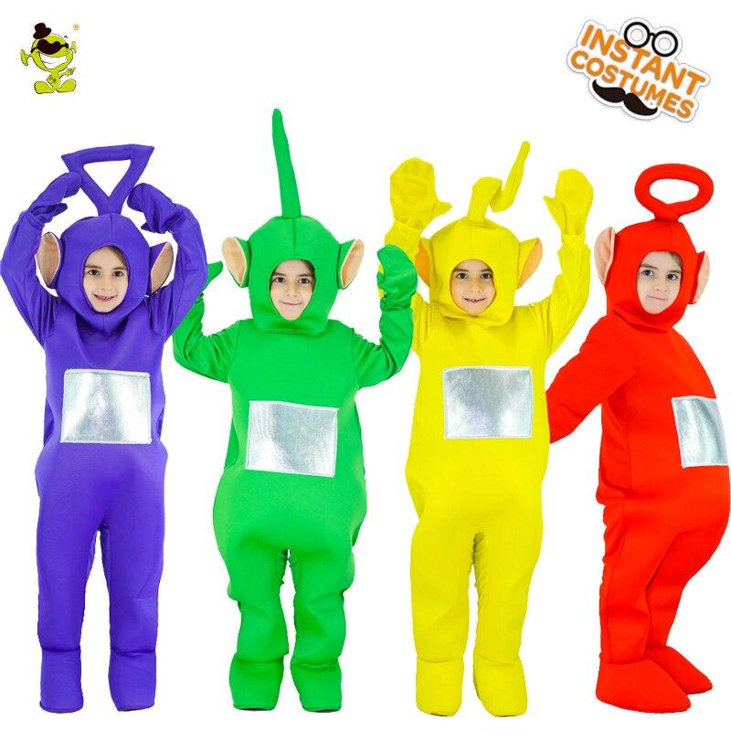 2018 Bambini Teletubbies Costume Della Mascotte Del Fumetto Del Gioco di Ruolo di Carnevale Del Partito Teletubbies Tuta Cosplay Teletubbies Costumi