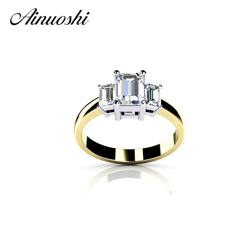 AINOUSHI 3 Stone Rectangle Emeraled Cut Ring Lab Created Ring 925 Sterling Silver Women Wedding Engagement Anniversary Bijoux