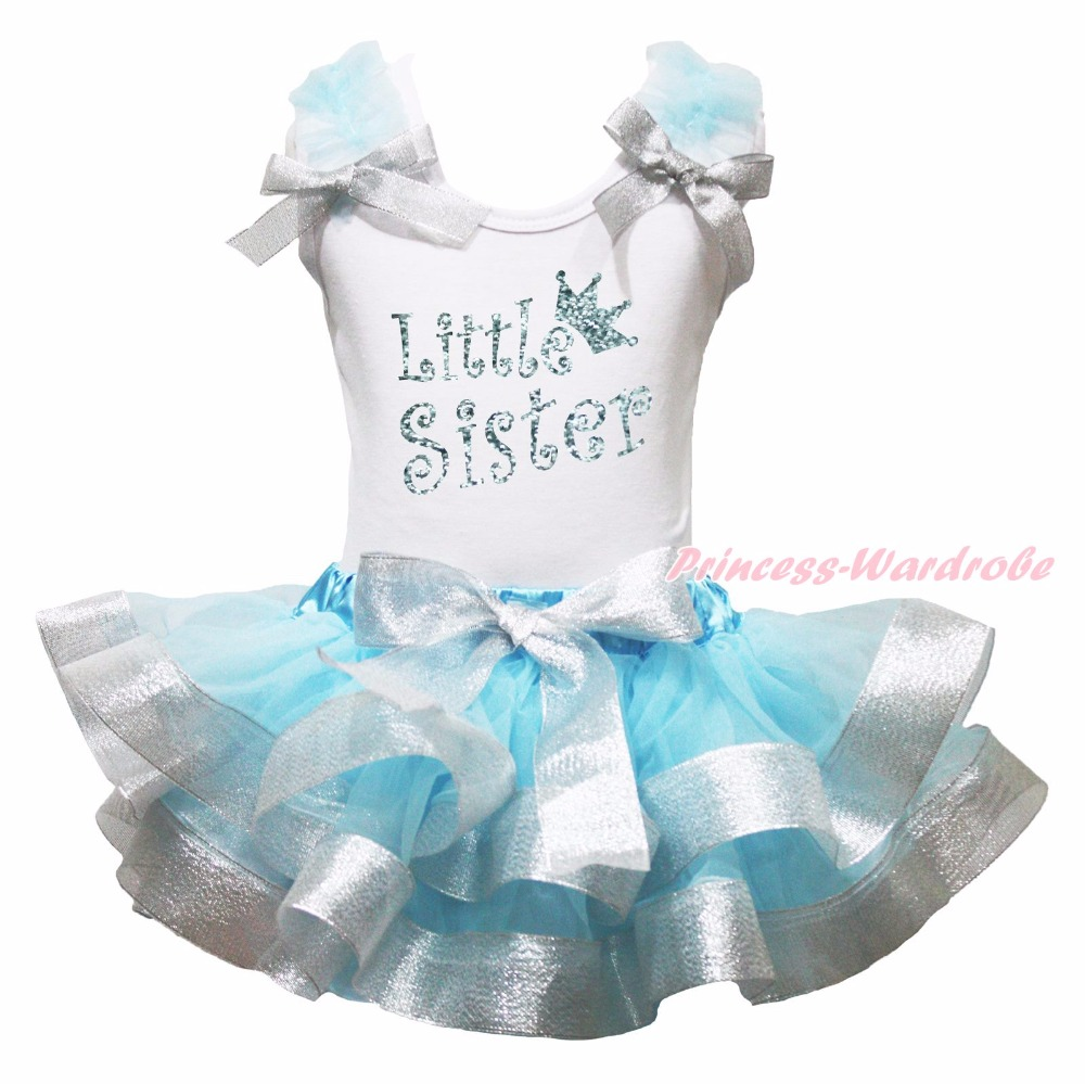 Bling Little Big Sister White Top Light Blue Girls Petal Skirt Outfit NB-8Y my 1st christmas santa claus white top minnie dot petal skirt girls outfit nb 8y