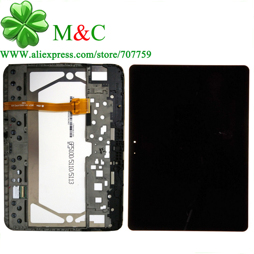 OGS P5100 LCD Touch Panel For Samsung Galaxy Tab 2 10.1 P5100 P5110 LCD Display Touch Screen Digitizer Assembly With Frame