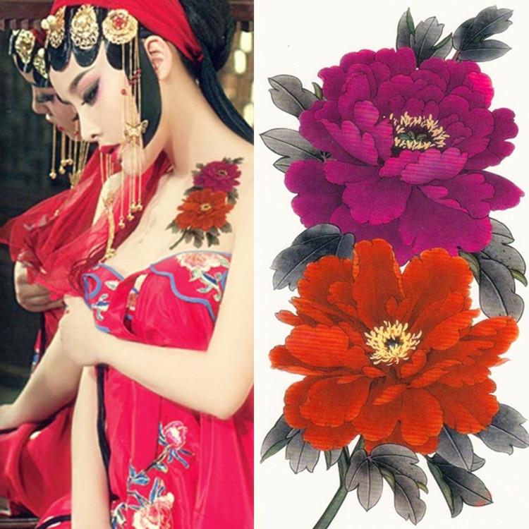 ᐂ3 Dwaterproof Sexy Tatuaż Kobiety Duże Kwiaty Piwonii
