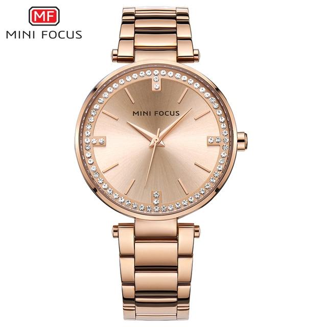 Mini Focus marca de lujo relojes mujer Acero inoxidable oro rosa de cuarzo  reloj mujeres diamante 31e98e7f26c7