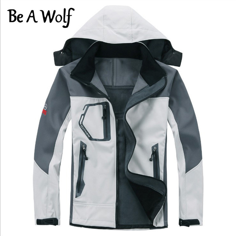 Be A Wolf Outdoor HiKing Softshell Jacket Men Windproof Waterproof Male Hiking Camping Heated Fleece Jackets
