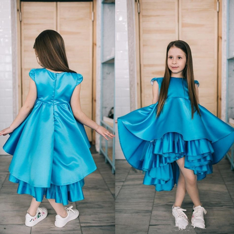 High Qulaity Satin   Flower     Girl     Dress   For Wedding Tea-Length Zipper Back Custom Made Princess Birthday Party Gowns New Arrivals