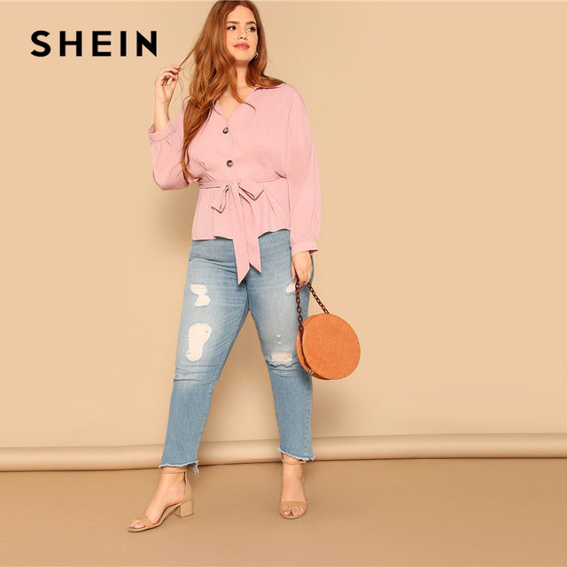 SHEIN Plus Size Pink Waist Belted Button Front Peplum Blouse Women Spring Long Sleeve Turn-Down Collar Solid Elegant Ladies Tops 4