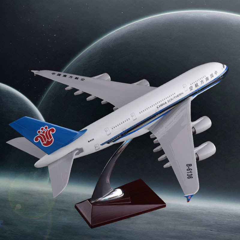 36cm Resin Airbus Model A380 China Southern Airlines Aircraft Plane Model Southern Airplane Airways Model Educational Gift Toy electric air bus model toys moving flashing led light sounds kids toy assembling aircraft children gift a380 airbus music toy