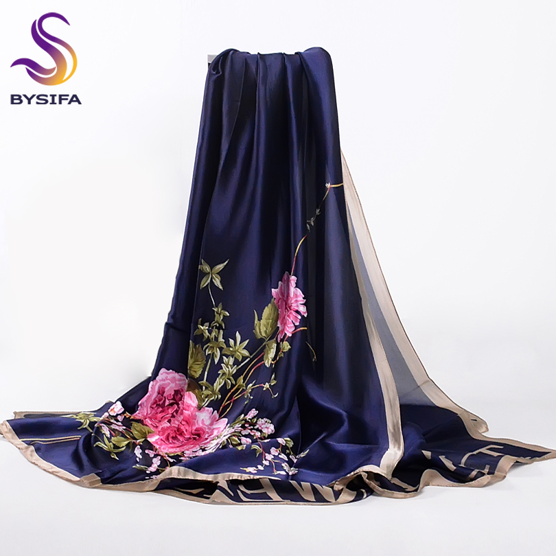 [BYSIFA] Navy Blue Chinese Roses Women   Scarves   Fall Winter Utrlong Top Grade Brand Trendy Silk Letters Long   Scarf   Shawl   Wrap