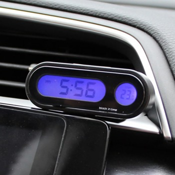 2-em-1 Auto Car Termômetro Display Digital LED Relógio Eletrônico Relógio Luminoso Mini Portátil Relógio Do Painel Do Carro Acessórios