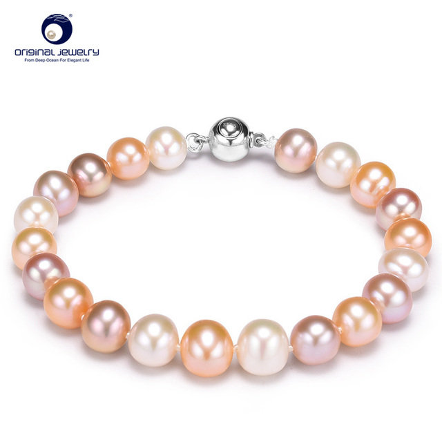 [YS] Fine Jewelry 8-9mm Mix Color Natural Freshwater Cultured Pearl Personalized Bracelet Best Gift For Girlfriend Free Shipping