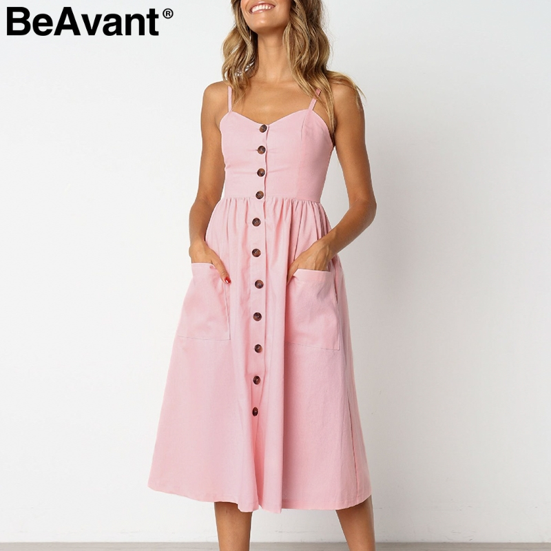 US $14.99 40% OFF BeAvant Vintage striped summer cotton dress women Plus  size buttons midi dresses ladies Casual white pink beach dress robe  femme-in ...
