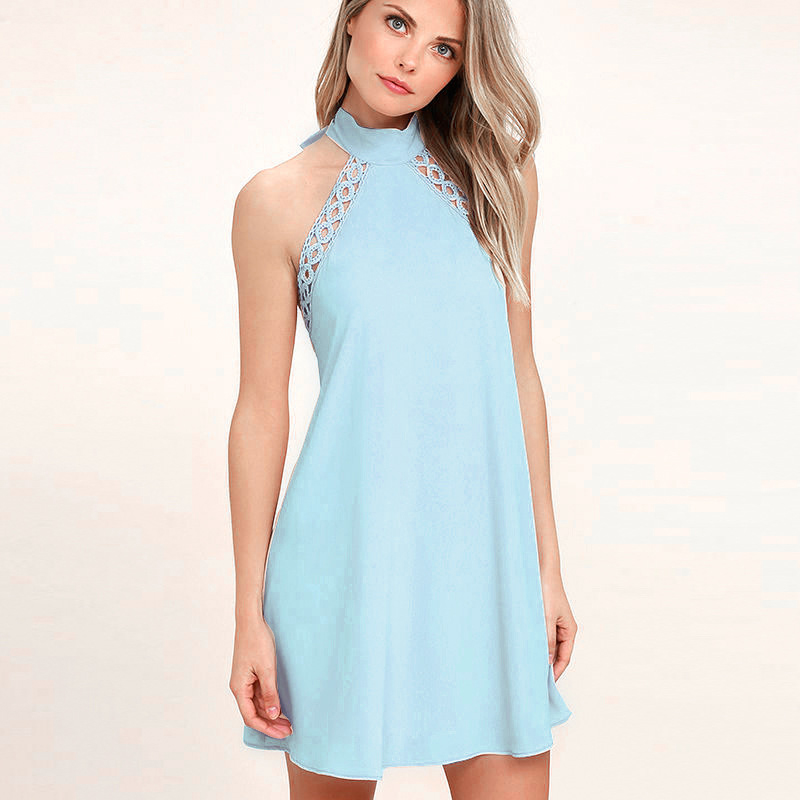 2017 Summer Women Sexy Butterfly junction Sleeveless Lace Bandage Halter Elastic force Solid color Slim Mini Dress
