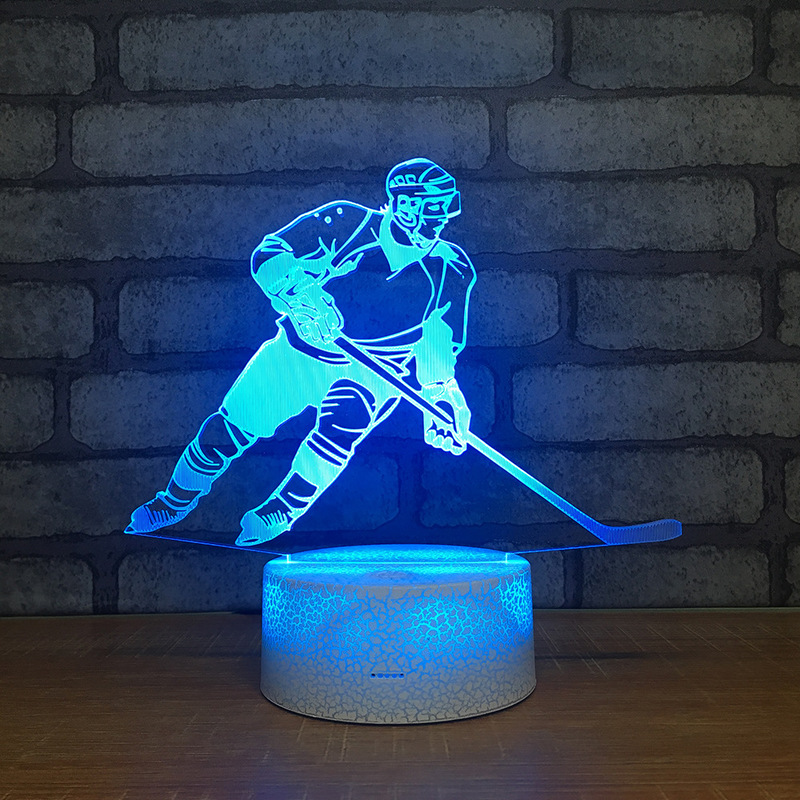 Ice Hockey Player Figure 3D Table Lamp Touch Control 7 Colors Changing Acrylic Night Light USB Decorative Toys For Kids Gifts