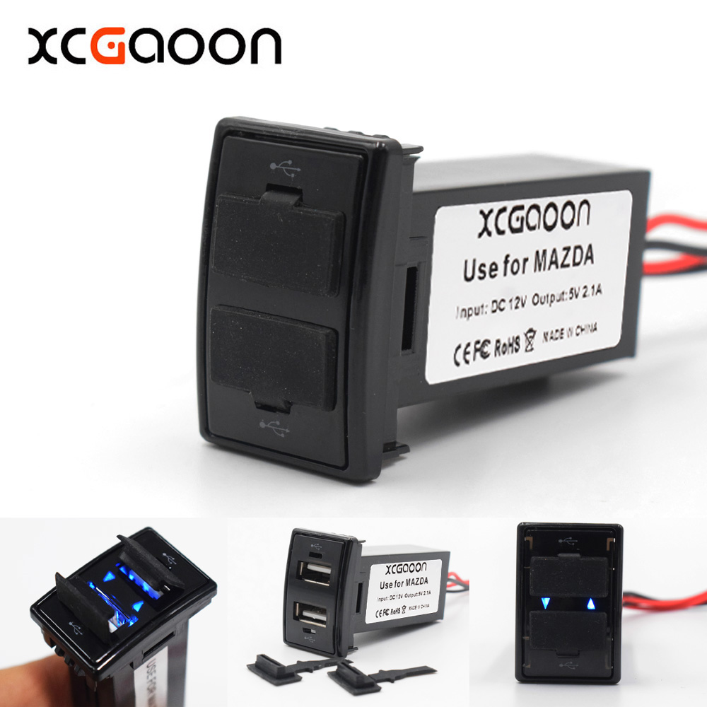 XCGaoon Special 5V 2.1A 2 USB Interface Socket Car Charger Use for MAZDA, Can Charge iPhone Android Smartphone Tablet PC GPS