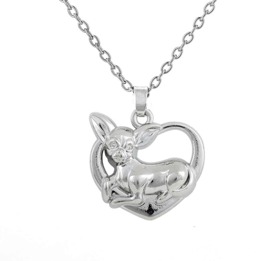 my shape Drop Shipping Silver Plated Adorable Dog Pet Chihuahua on Heart Pendant Puppy Necklace for Animal Lover
