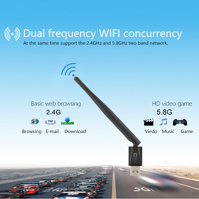Mini 600Mbps 11AC USB 2.0 2.4G/5.8G Dual Band Wireless WiFi Adapter Receiver Network Card 802.11ac/a/b/g/n for laptop desktop PC