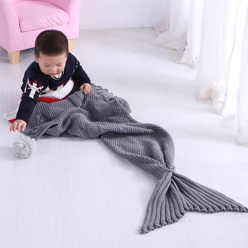 2019 Kids knitted mermaid tail blanket Little shark sleep wrap nap air conditioner sofa Blanket warm soft comfortable breathable