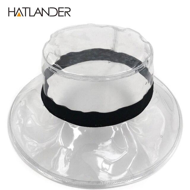 HATLANDER Fashion transparent sun visor hats for women stylish PVC bucket  hat female street-wear clear beach hat girls show cap 5b17e26f033a