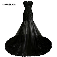 Real Photos Elegant Applique Tulle Black Mermaid Designer Evening Dresses Formal For Women DGE042