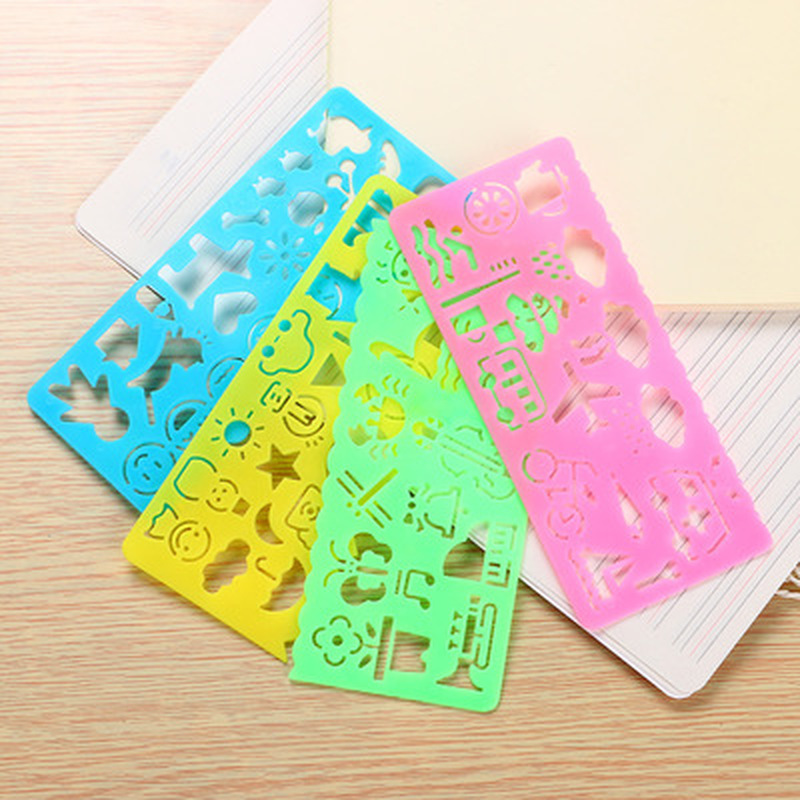 4pcs/set Million Flower Ruler Kawaii Stationery Novelty Cute Rulers Student Patchwork Ruler Suit Drafting Rules School Supplies