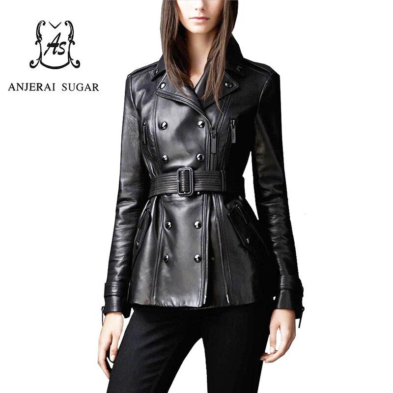 Spring genuine leather jacket women coat Black sheepskin motorcycle clothing female OL sexy Slim Double Breasted Design Jacket