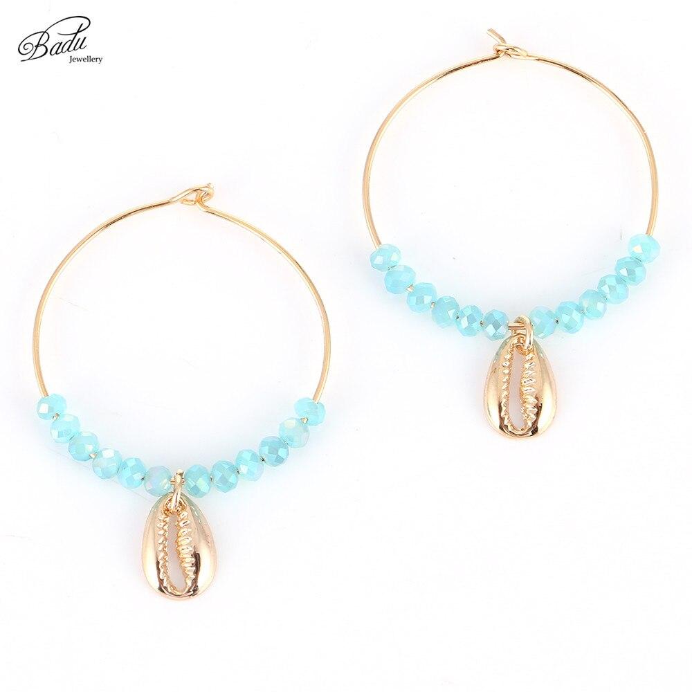 Badu Crystal korálky Hoop náušnice Big Round 18 Gold Shell přívěsek ženy módní náušnice české šperky móda