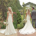 Importado Cap Manga Vestidos de Casamento 2017 A Linha Lace Baratos vestidos de Noiva Vestidos de noiva Vestido De Noiva Simples e Elegante Do Marfim Vestidos de Noiva