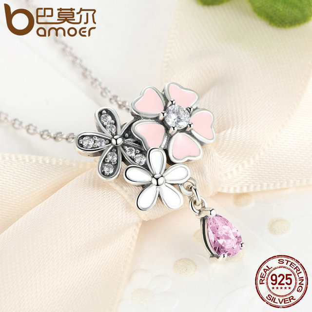 Sterling Silver Pink Flower Poetic Jewelry Set
