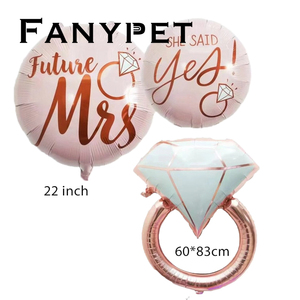 Image 2 - Anillo de aluminio de diamante de 22 pulgadas para decoración, globo con letras de oro rosa de 22 pulgadas, para boda, compromiso