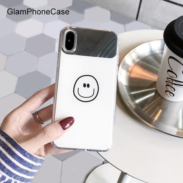 GlamPhoneCase Espelho Rosto Smiley Dos Desenhos Animados Caixa Do Telefone para o iphone XS Max XR XS X para o iphone 7/8/6/ 6 S Plus Tpu Macio de Volta Caso Capa