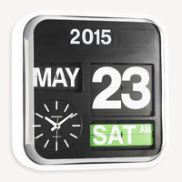Auto Calendar Flip Clock Extra Large Luxury Wall Clock Modern Design Retro Flip Clocks Hanging Wall Watch Home Decor 43cm