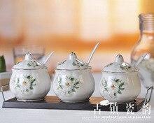 three-piece bone china magnolia ceramic spice jar salt and pepper seasoning bottle set herb&spice tools kitchen supplies