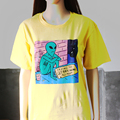 Hillbilly 2019 Lustige Baumwolle Druck Casual Gelb Alien Versuchen Zu Hause Erhalten Pls Helfen T shirts Kawaii Kurzarm Grafik T shirts-in T-Shirts aus Damenbekleidung bei