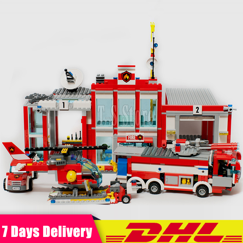 DHL IN Stock 2018 Lepin 02052 City Series The Fire Station Set 1029Pcs Set Building Blocks Bricks ActionToys Gift Clone 60110 dhl lepin 02020 965pcs city series the new police station set model building set blocks bricks children toy gift clone 60141