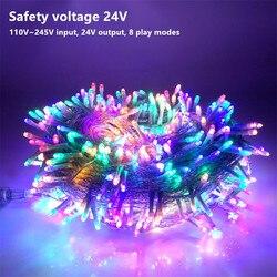 24 V 10-Segurança 100 M LED Luzes Cordas de Fadas Rua Festão Garland para Jardim Do Casamento Do Natal de Ano Novo casa Na árvore Decorações Do Partido
