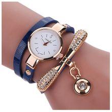 Women's Fashion Faux Leather Rhinestone Analog Quartz Wrist Watches Blue