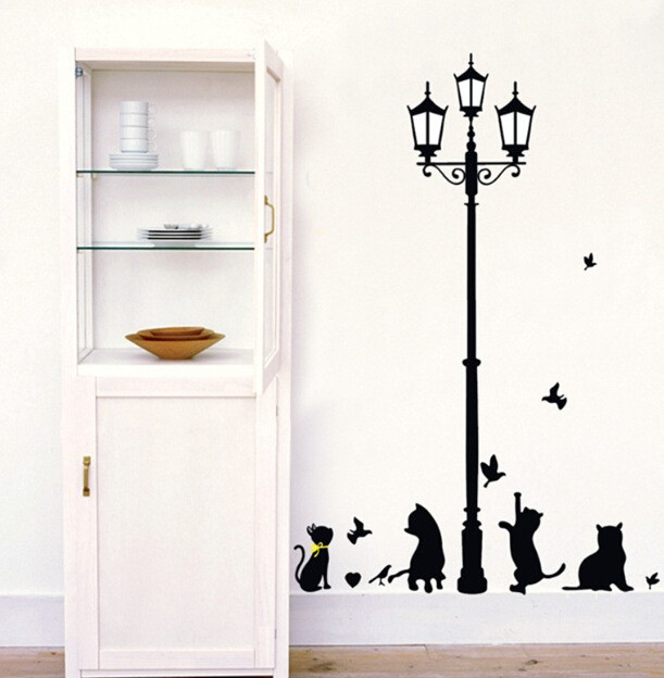 New Hot Naughty Cats Birds and Street light Lamp Post Wall Stickers New Hot Naughty Cats Birds and Street light Lamp Post Wall Stickers HTB1gACMJVXXXXcjXXXXq6xXFXXXQ