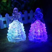 24pcs Lot Romantic Acrylic Crystal Princess Style Night Lights Multicolor LED Flashing Lamps Baby Girls Favors