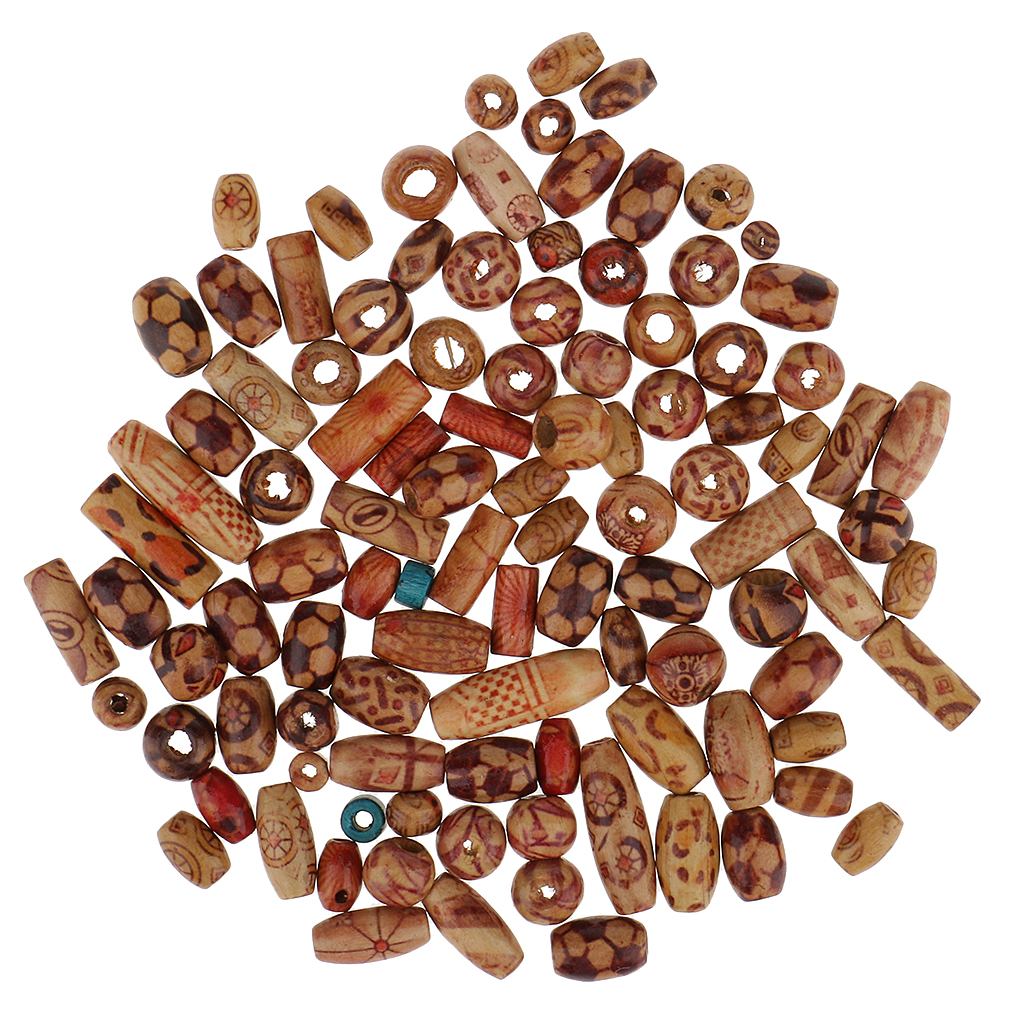 Phenovo 100 Pieces Mixed Printed Wood Beads Large Hole Bead Diy Jewelry Accessories Make Necklace Bracelet Macrame Craft Project Back To Search Resultsjewelry & Accessories Beads