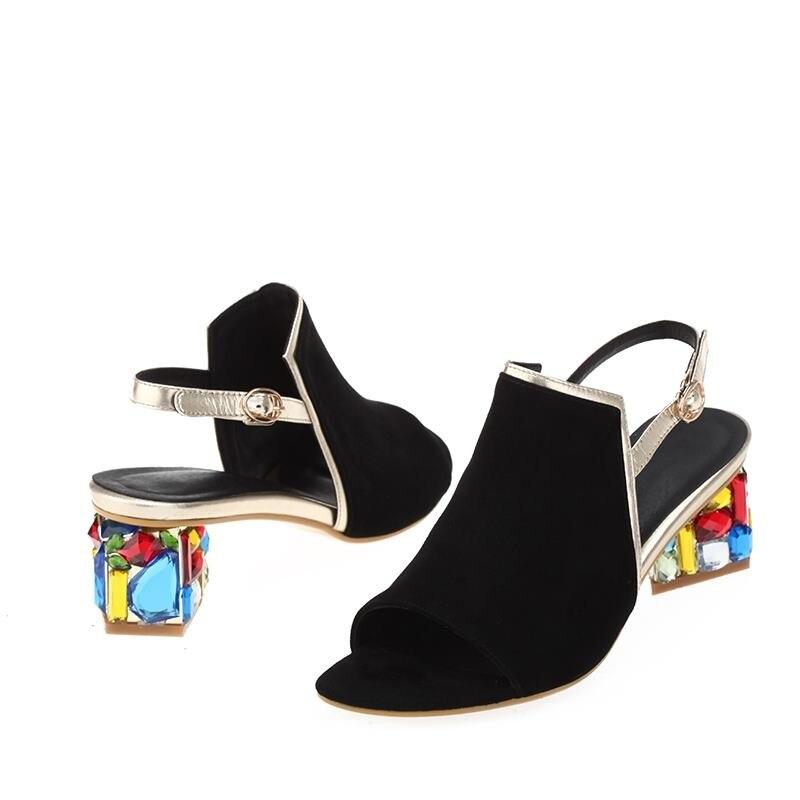 MORAZORA nueva moda de alta calidad de verano de piel de oveja sandalias de cuero de gamuza de Mujer Zapatos de boda de diamantes de imitación de color sólido-in Sandalias de mujer from zapatos    3