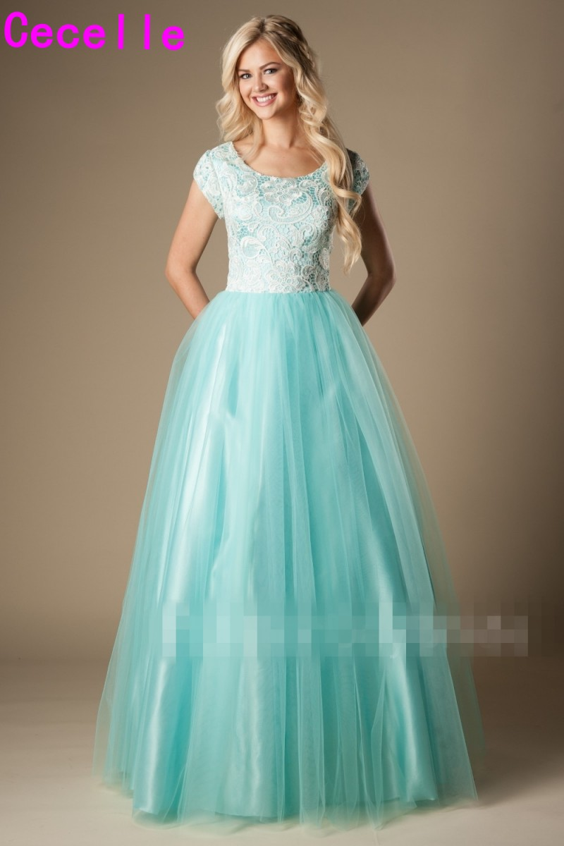 Mint Long Modest   Prom     Dresses   With Cap Sleeves 2019 Puffy A-line Simple Lace Tulle   Prom   Party   Dresses   Girls Formal Evening Wear