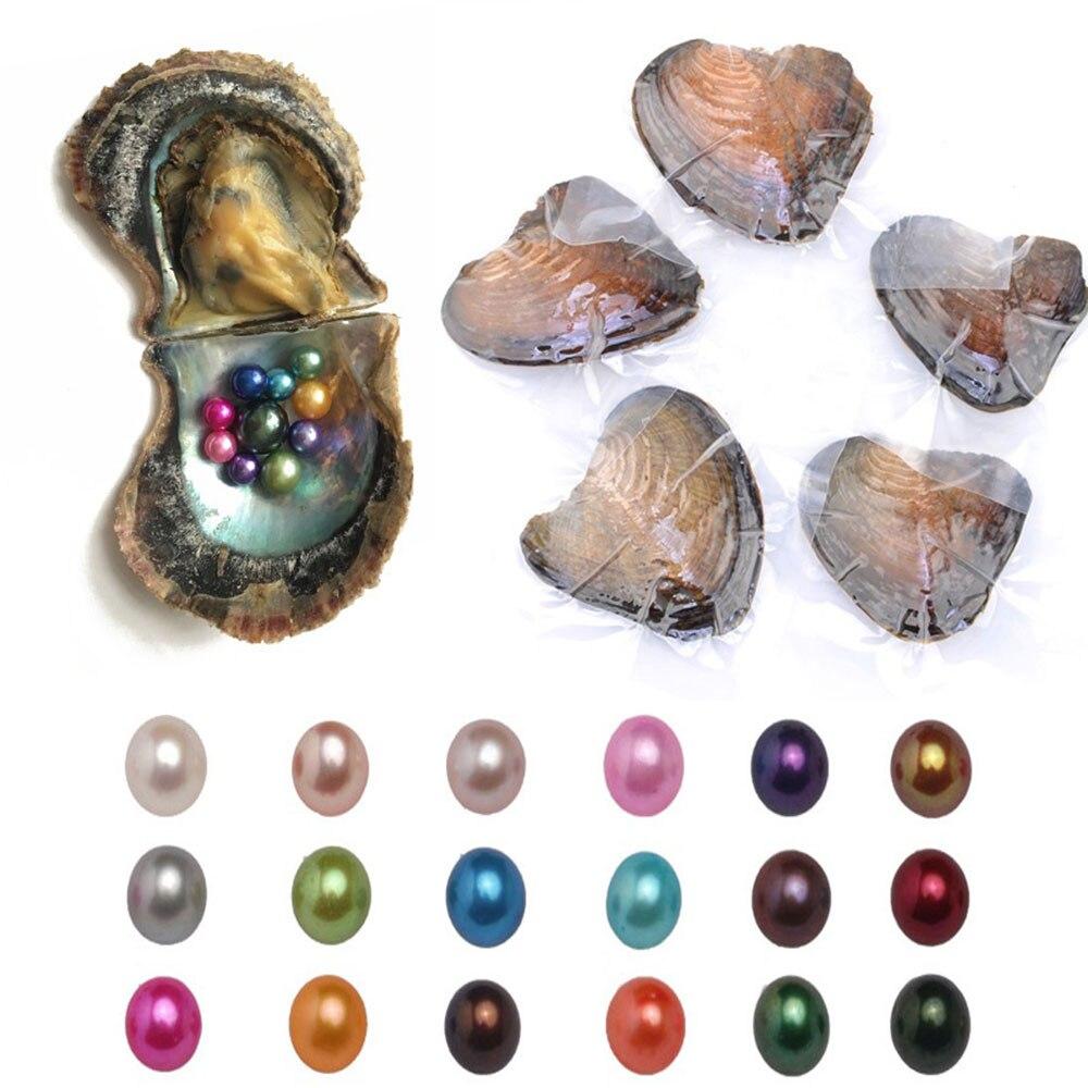 10/20 штук Устрицы из пресноводного жемчуга природного круглый шарик мидии подарки на день рождения индивидуальная упаковка смешивания 20 цветов разные цвета - Цвет: 20pcs pearls