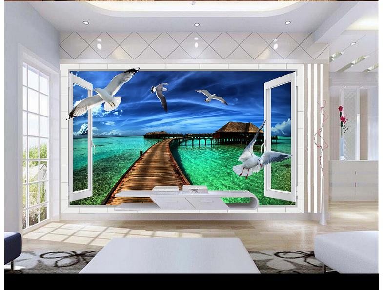 High Quality Hot Sale New Custom 3d photo wallpaper murals 3D outdoors landscape balcony background wall room wallpaper decor