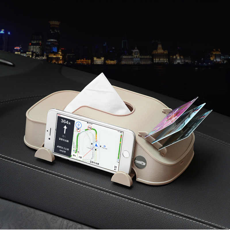Çok fonksiyonlu araba doku kutusu plastik telefon tutucu kartları klip araba kol dayama blok kağıt kulesi saklama kutusu iç aksesuarları