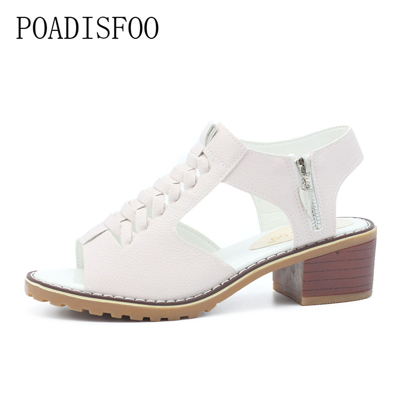 POADISFOO New Summer Women's Shoes Sandals peep toe square Heels Solid Sandals Waterproof Women Shoes For Ladies .HYKL-A772 poadisfoo 2017 new summer style slip on women sandals flats for women black white color slippers shoes women hykl 1603