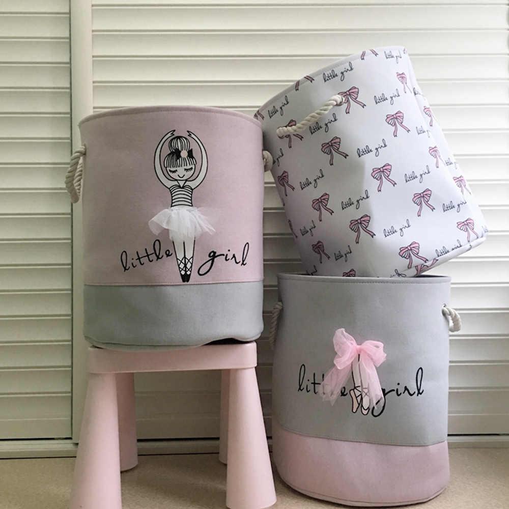 Dobrável Cesta de Lavanderia para Roupas Sujas cestas de Brinquedos Menina Ballet Rosa saco Organizador crianças Casa lavagem De Armazenamento Organização