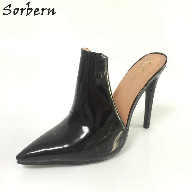 f6f08235a5 Sorbern Black Pointed Toe Mules High Heels Women Stilettos Slip On Pumps  Ladies Custom Colors High Fashion Shoes Plus Size 2018