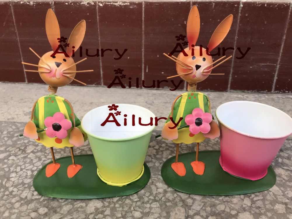 ขนาดเล็กที่มีสีสันแผ่นเหล็กกระต่าย/Chick เครื่องประดับน่ารักกระถางดอกไม้,ตกแต่งสวน,ดีบุก Bunny Decor.Xmas,bonsai,กระถาง