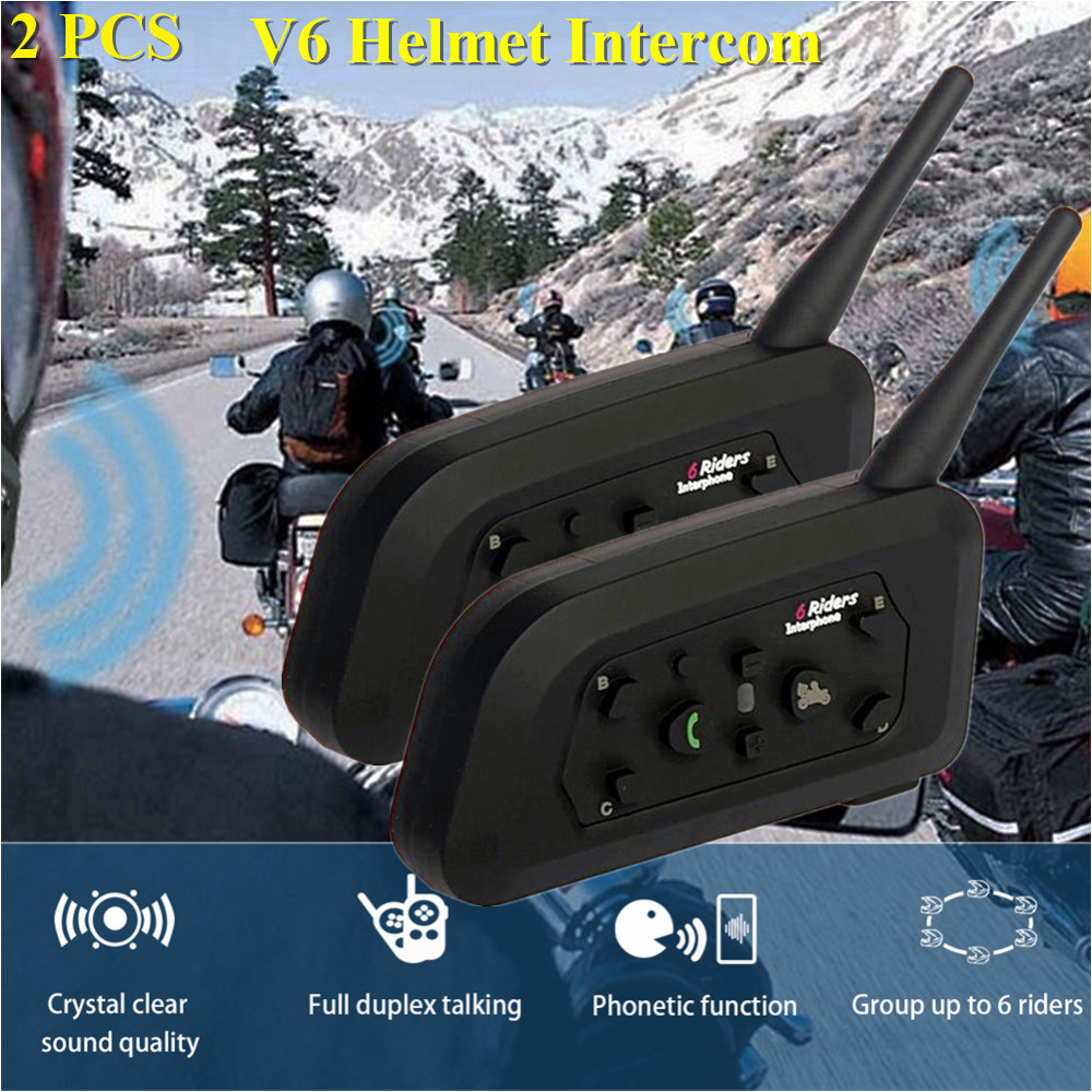 2 pièces V6 otorcycle casque casque 1200 m sans fil synchrone interphone pour 6 coureurs BT Bluetooth multi-personnes casque interphone