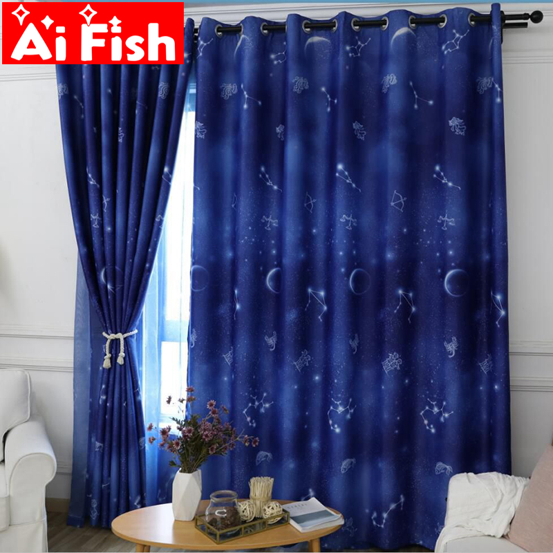 Unique And Romantic Navy Blue Starry Sky Shade Curtains For Living Room Korean Children's Bedroom Space Star Drapes WP111-40