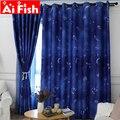Уникальные и романтичные темно-синие занавески с изображением звездного неба для гостиной  корейские Детские занавески для спальни  WP111-40
